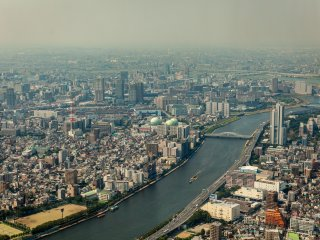 A view down to the Sumida River below