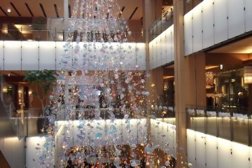 <p>Spangly Christmas decoration in the Galleria</p>