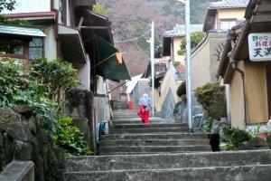 A stairway alley leading toward Hozanji Temple