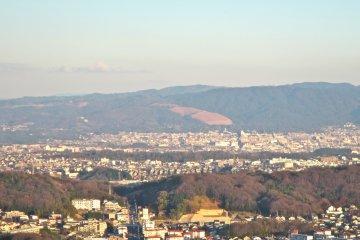 <p>The grassy slopes of Wakakusa Mountain, Nara Park and Nara City from a view point near Hozanji Temple</p>