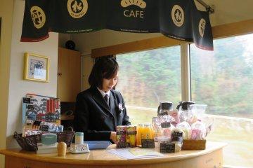 A cafe bar at the Ao Matsu train