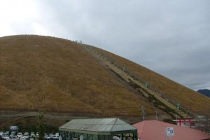 The chairlift going up the side of the volcano