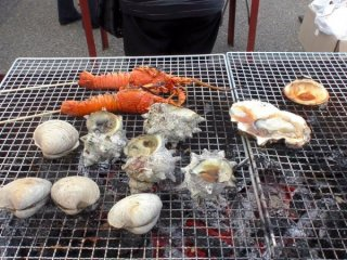 IseEbi (Japanese lobsters), Clams and Turban shells grilled up BBQ-style