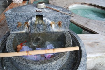 <p>Boiling eggs at the public onsen in Wakura Hot Spring Resort</p>
