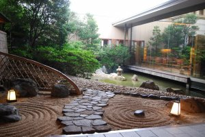 Traditional Japanese garden by the entrance