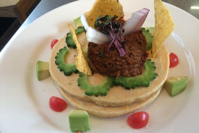 Savory pancake lunch at Rainbow Pancake in Omotesando.