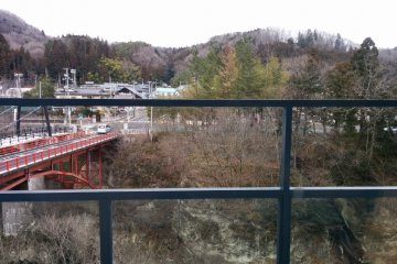 <p>View from the day use restaurant of the only&nbsp;suspension bridge in Miyagi Prefecture</p>
