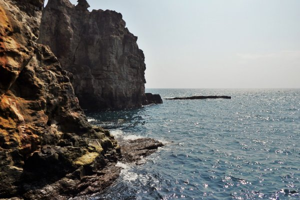 A view of the cliffs from inside the cave.