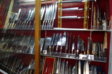 Showroom of a Sakai knife craftsman