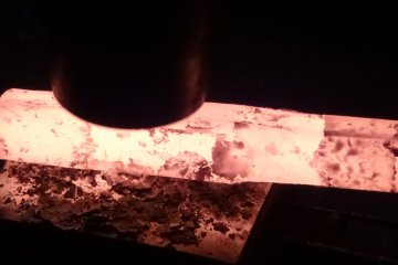 Hot still needs to be hammered into shape to make a knife