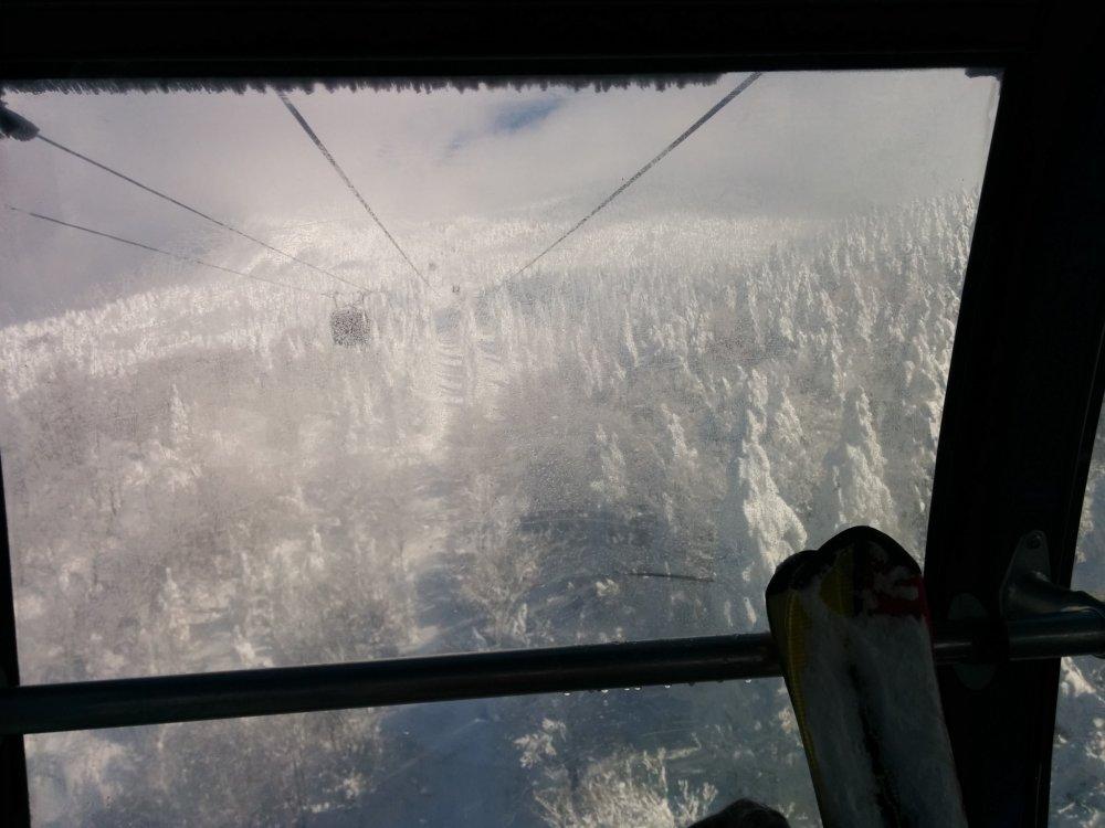 Durant l'ascension dans le remonte-pente étroit, les monstres affamés lorgnent sur les passagers passant au-dessus de leur tête