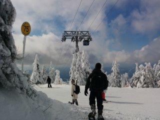 Лыжная трасса четко обозначена желтыми флажками с цифрами. Либо просто следуй вниз, ориентируясь на подъемник