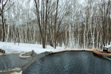 Guests of the hotel can soak in this amazing rotemburo overlooking a lovely white birch tree forest.