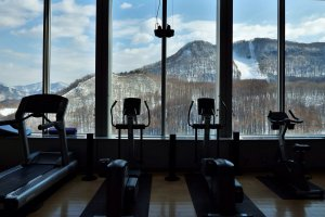 The eleventh floor fitness room offers incredible views.