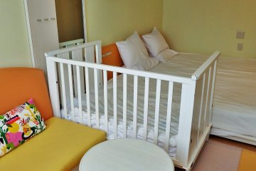 The special 'infant rooms' come equipped with everything a mom and dad might need to care for their baby.