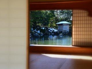 Looking at the garden pond through Yokokan house