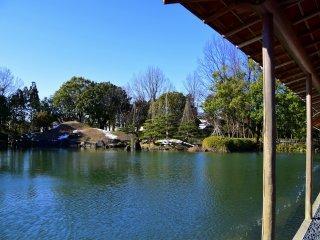 Garden pond under the blue sky
