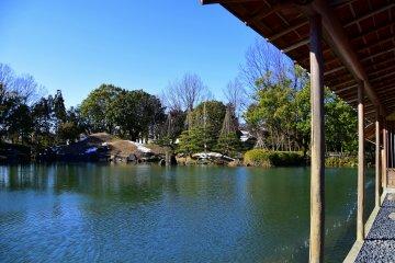 푸른 하늘 아래의 정원 연못