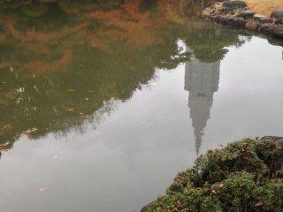 Refleksi gedung dan dedaunan musim gugur di telaga pada taman Jepang