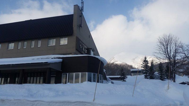 Ikoino Yuyado Iroha Hotel with Niseko Annupuri peak in the background