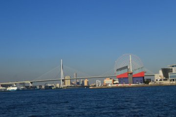 The view of Tempozan Ferris Wheel and Kaiyukan (Osaka Aquarium)