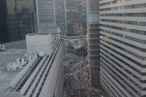 Pemandangan Osaka di sore hari