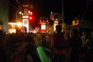 Wajima's streets are full of lights and festival sounds