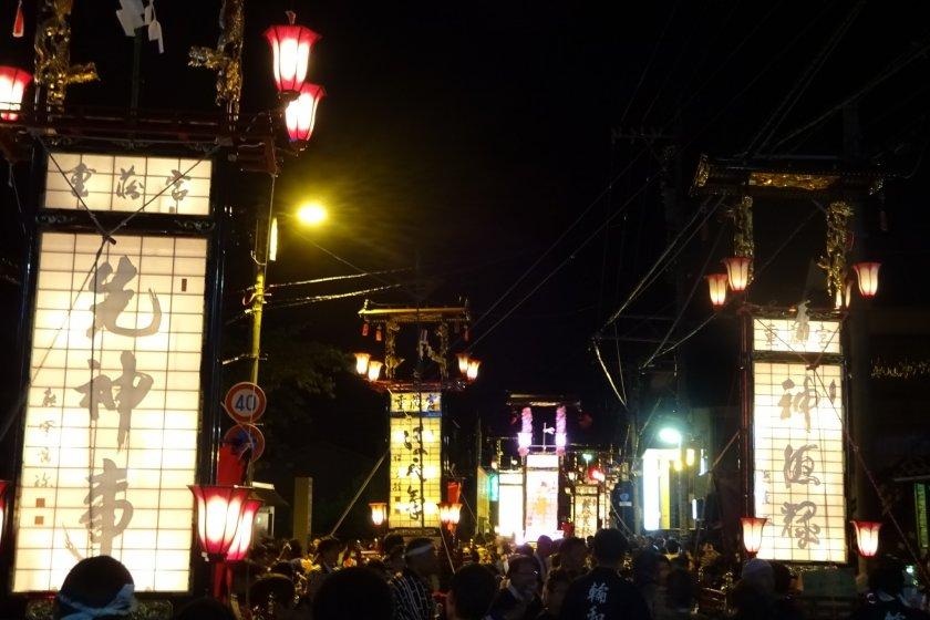 Kiriko lanterns are paraded through the local neighborhood