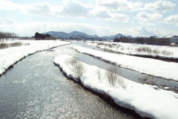 The river running along the samurai district. Winter time is also a great time to visit and avoid the crowds.