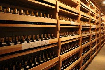 Sake storage at Kasumi Tsuru brewery