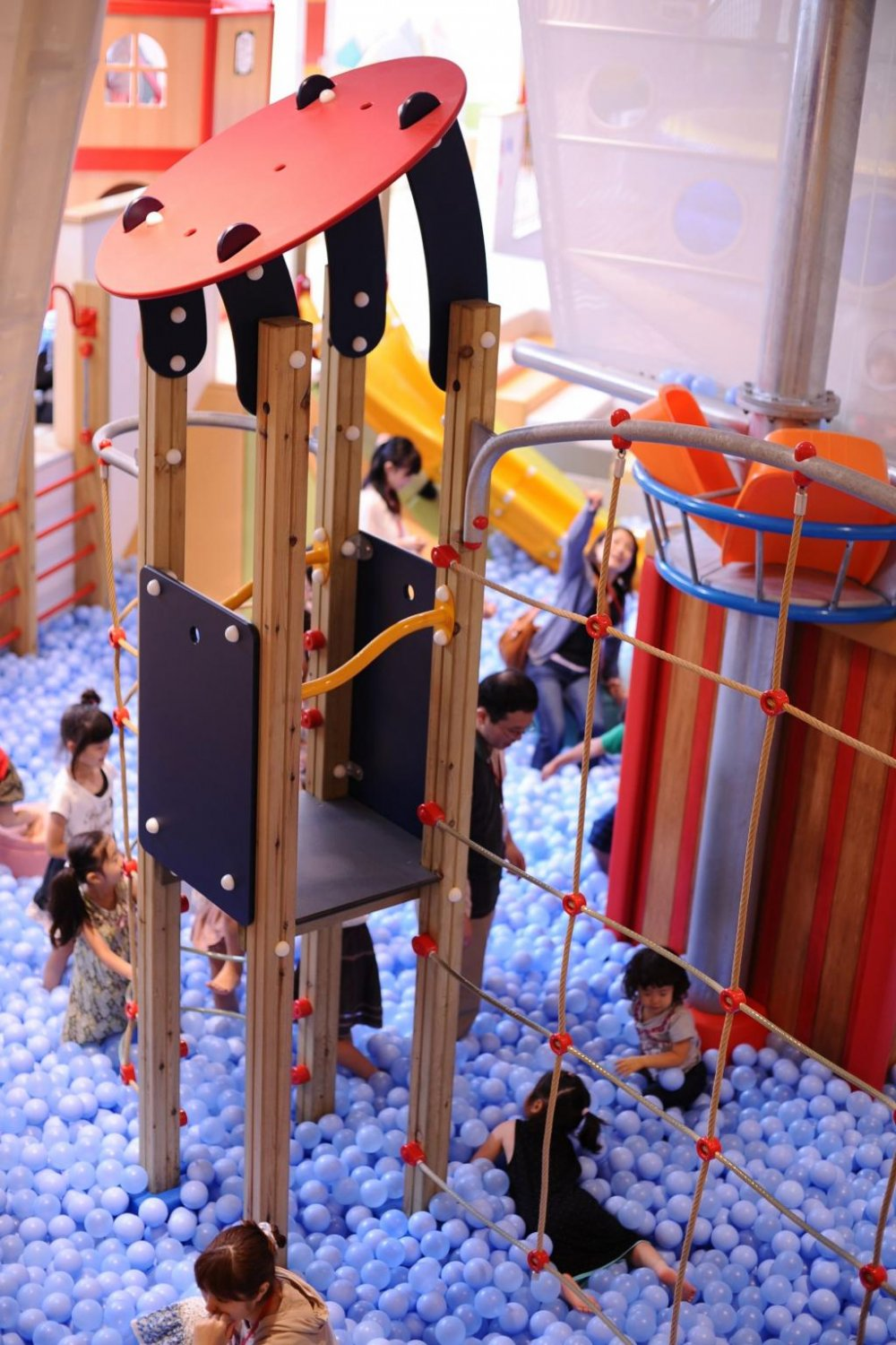 The 'ocean' area has a climbable pirate ship and giant ball pit