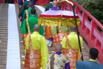 <p>The Procession, headed by priests and others dressed in traditional clothing.</p>