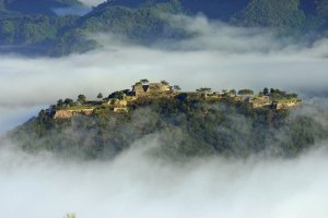 A view of Takeda Castle, known as the castle in the sky due to the surrounding fog