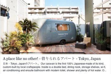 """Stay at AirBNB's """"Tokyo Caravan"""" inside the grounds."""