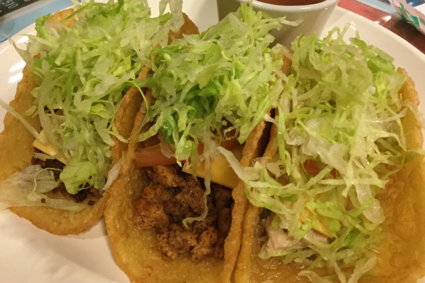 Three taco plate: choose from beef, chicken and tuna.