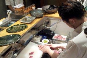 Manager Akiyama and the Niku Sushi chef