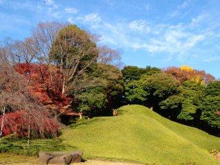 Bukit buatan menampilkan pemandangan hebat ke seluruh taman