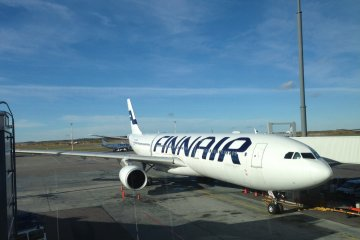 Finnair flies their Airbus 340 wide body jets for its routes to Japan