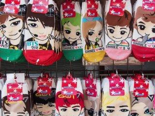 Socks adorned with KPop stars