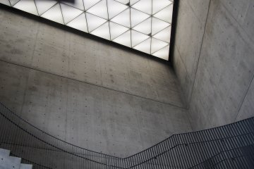 The triangular skylight and freestanding staircase.