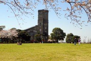 桜の頃は建物の全容が見える