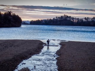 A single person braving the chilly early morning to get the `perfect` shot