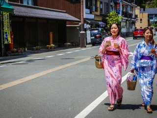 Tourists and locals are encouraged to wear a yakuta and geta's to move comfortably from one place to another.
