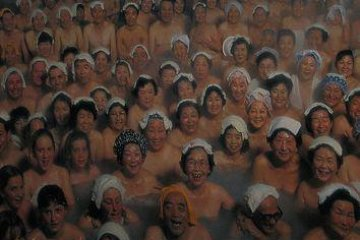<p>Picture of a poster showing the hot spring at maximum capacity!</p>