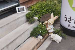 Bunny and hedgehog deco along the stairs