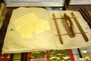 Bamboo contraption used to cut gold leaf into neat squares