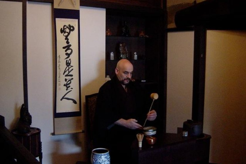Randy Channell, Tea Master in the Urasenke tradition at work
