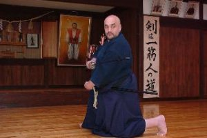 Martial artist-turned-tea master. Randy Sensei training Iaido