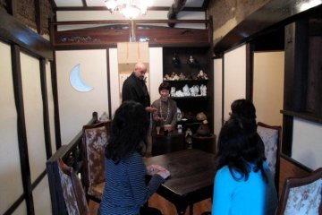 The tea ceremony setting at ran Hotei - guests can sit comfortably listening to Channell's lecture