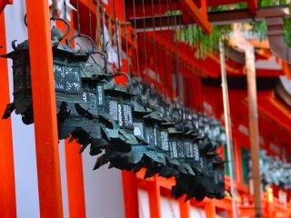 Lồng đèn kim loại tại Kasuga Taisha
